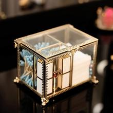 VINCIGANT Dustfree Antique Decorative Clear Glass Cosmetic Storage Box with Lid and 3 Compartments for Cotton Ball/Pad/Swab/Perf