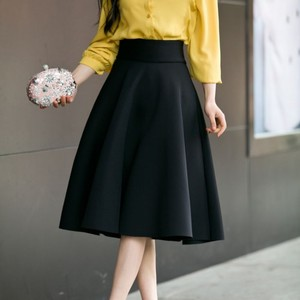 Image 5 - Faldas de talla grande hasta la rodilla para mujer, faldas de talle alto, plisadas, color blanco, rosa, negro, rojo y azul, 2019