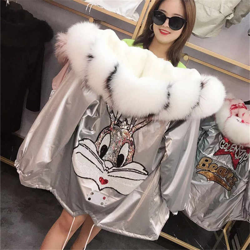 Natural Fox Fur Collar Hooded Warm Silver Parkas Back Cartoon Rabbit Sequins Real Rabbit Fur Liner Women Winter Jacket Oversized