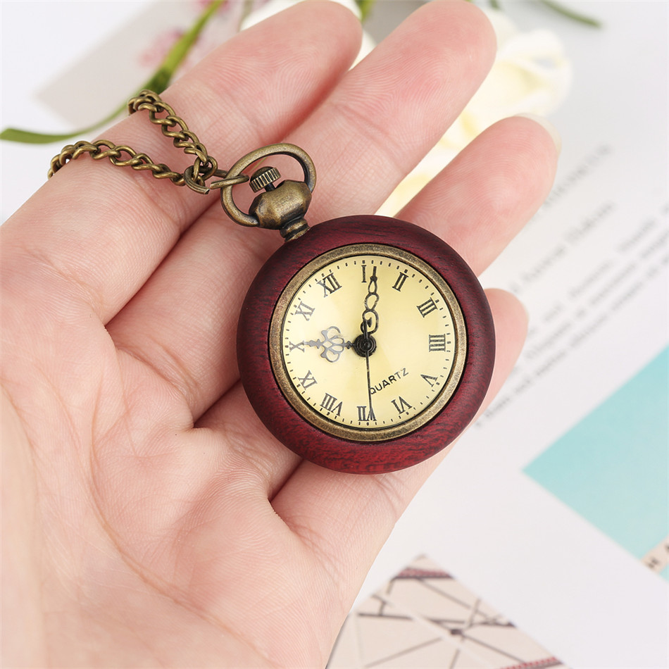 Roman Numerals Mini Retro Necklace Clock Yellow Dial Red Wood Quartz Pocket Watch Fob Chain Pendant Clock Unisex Gifts