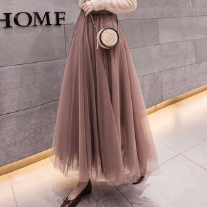 2020 Summer Tulle Skirts Womens Midi Pleated Skirts Black Tulle Skirt Women Spring Fashion Elastic High Waist Mesh Tutu Skirts