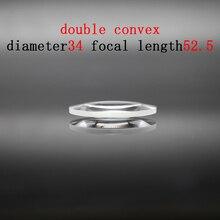 Diameter 34mm Focal Length 52.59mm Optical Double Convex Lens Factory Custom Optical Glass Prism and Lens линза сменная dragon optical d1 xt lens желтый