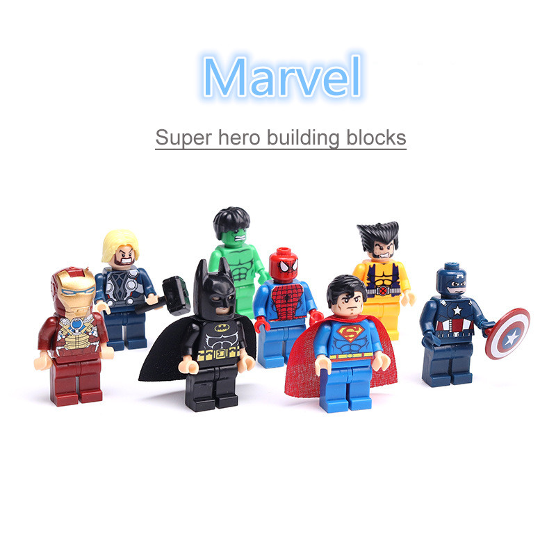 8pcs Legoinglys Marvel Avengers Series Building Blocks Iron Man Batman Captain America Caps Compatible  Assembly Blocks Toys