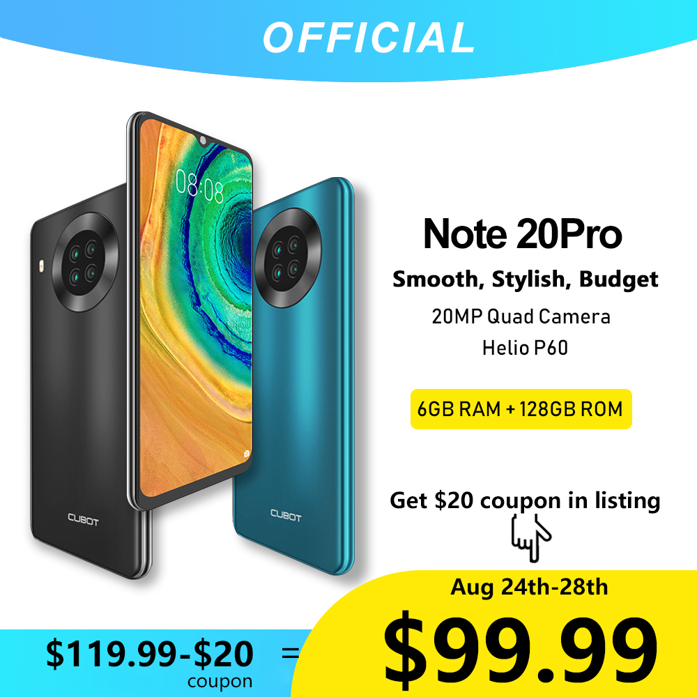 Cubot Note 20 Pro Quad caméra Smartphone 6GB RAM + 128GB ROM NFC 6.5 pouces 4200mAh Helio P60 Google Android 10 double carte SIM téléphone 4G LTE celulaire OTG GPS Cubot Note20 Pro