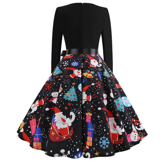 11 Color Vintage Dress Women Plus Size 3XL Sexy V-Neck Long Sleeve Christmas платье Bow Musical Note Print Flare Dress Wholesale 57