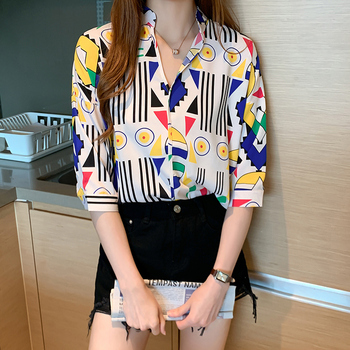 Oversize Funny Blouse Women 2020 Summer Casual Tops Shirt Womens Short Sleeve Streetwear Print Geometric Tops and Blouses Woman hellow and good bye print short sleeve tops