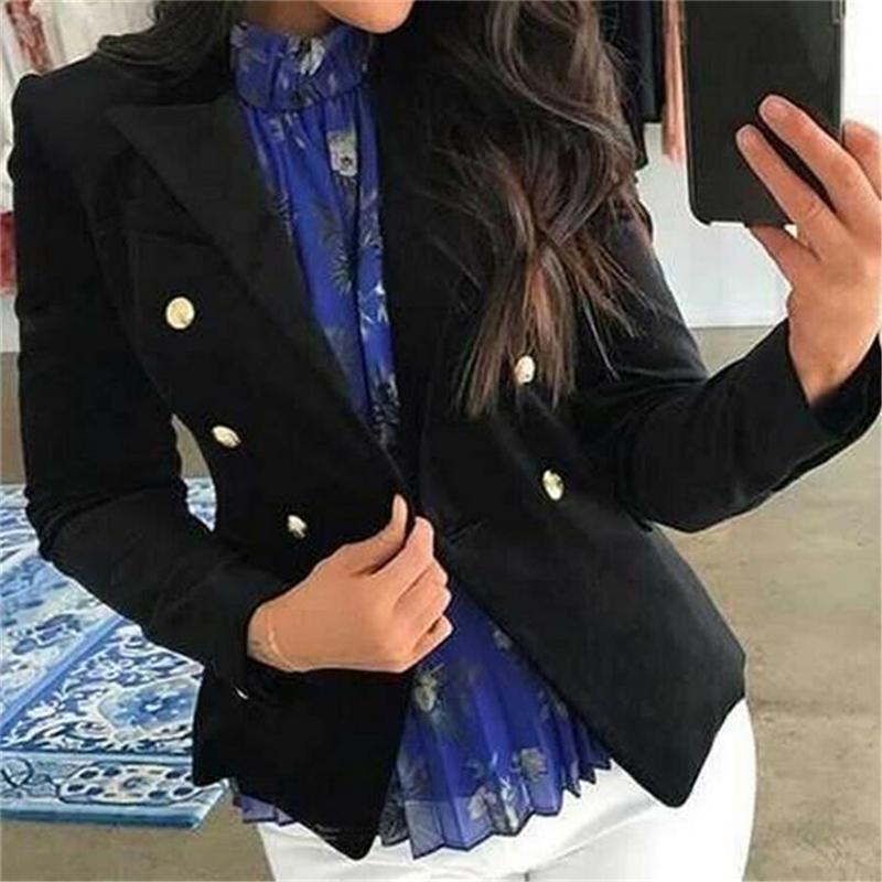 Elegant Women Blazer Solid Color Tops Autumn Winter Office Lady Outerwear Female Casual Women Double-Breasted Blazer Ladies Suit