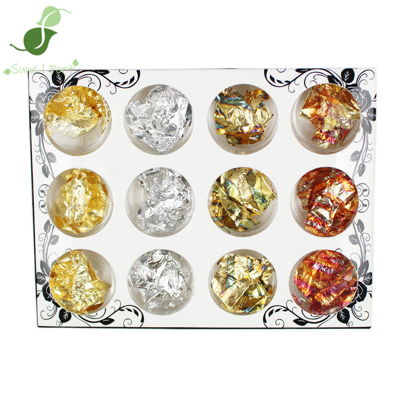 Manicure Four Colors Paillette Sunset Red Floral Nail Sticker Hand Tin Platinum Color Crystal Mud DIY Stationery