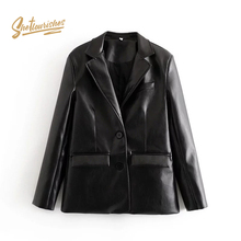 Sheflourishes Womens PU Blazer long sleeve Winter leather leather Suit