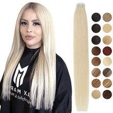 MRSHAIR-Cinta para extensiones de cabello humano, cinta adhesiva de trama de piel, Invisible, no remy, recta, rubia, marrón, negra, 20 unidades