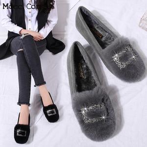 Crystal Fur Loafers Women Wint