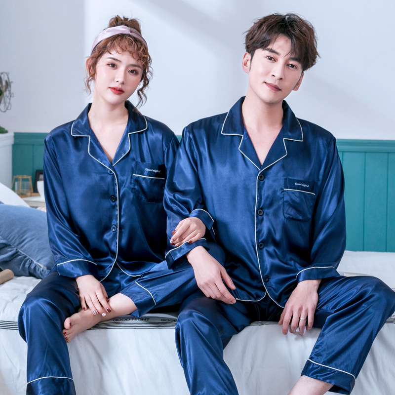 Full Sleeve Nightgown Turn-Down Collor Long Home Clothing 2PCS Pajamas Suit Sleepwear Solid Colour Sweet Couple Night Wear