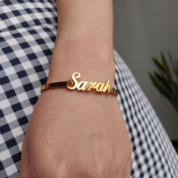 Customized Name Bracelets Bangles Rose Gold/Gold/ Silver Stainless Steel Child Bracelet Personalized Hand Link For Girls Boy BFF