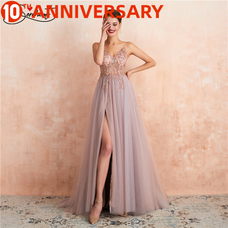 OLLYMURS Formal Dress Women Elegant Floral Print A-Line Empire Chiffon V-Neck Suitable For Evening Parties Romantic Occasions