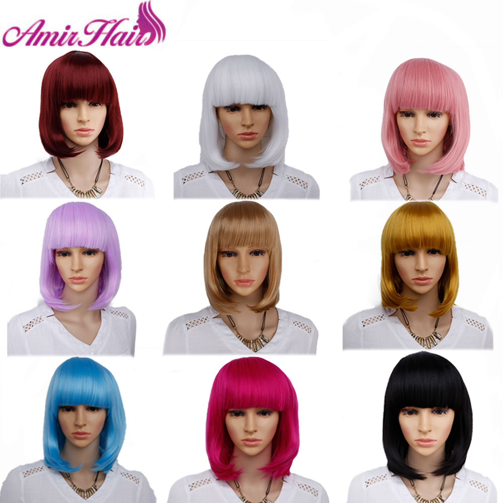 Amir Straight Short Bob Wig For Women Synthetic Hair Cosplay wig Blond Pink White Black Red Purple Ombre Wigs