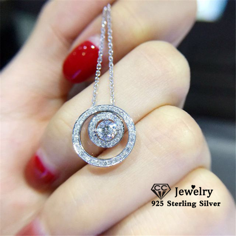 CC Necklaces Pendants Women 925 Sterling Silver Round Cubic Zirconia Necklace A two-wear Clavicle Chain Fine Jewelry CCN718