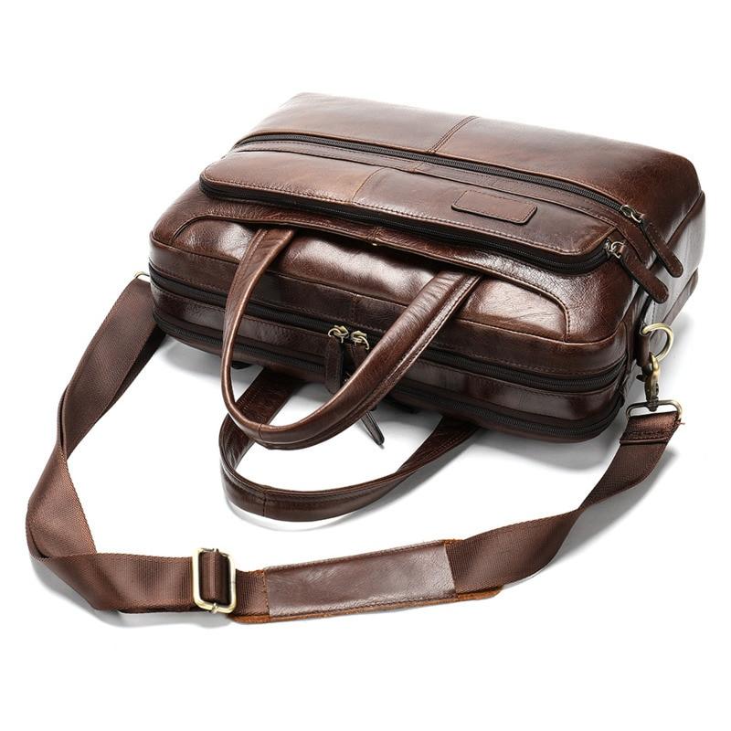Genuine Leather Briefcase Men Large Capacity Bag For Man Laptop Bag Messenger Bags Male Crossbody Bag Shoulder Mens Leather Bag