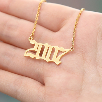 Custom Birth Year Number Necklaces For Women Men Gold Silver Color Stainless Steel Long Chain Pendant Necklace Fashion Jewelry granny chic 12 15 17 19mm fashion curb cuban mens necklace chain silver gold stainless steel necklaces for men jewelry 7 40 inch