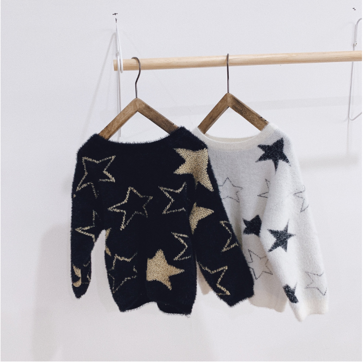 2019 Autumn And Winter New Sweater Five-pointed Star Head Neutral Pullover Toddler Girl Clothes Family Fitted(20Y Is MOM)