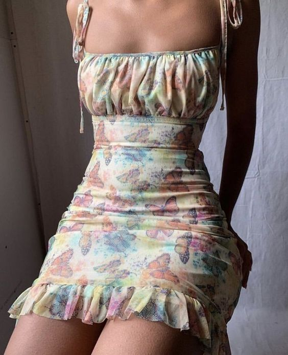 2020 Butterfly Print Mini Dress Sexy Lace Up Ruffles Summer Dress Ruched Sleeveless Lady Dresses Bandage Bodyson Party Dresses