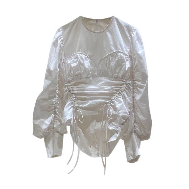 Korea 2020 Autumn New Irregular Drawstring Lace-up O Neck White Shirts Women New Design Fashion Women Blouses C200 3