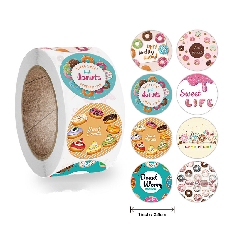 500pcs Per Roll Tasty Delicious Foods Stickers Sealing Label for Baking Cake Gift Tag Wedding Birthd