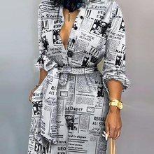 Office Lady Fashion Krant Print Lace-Up Jumpsuits Volledige Mouw Herfst Rompertjes Hoge Taille Wijde Pijpen Broek Temperament Algehele