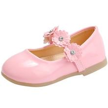 Новая Кожаная обувь принцессы для маленьких девочек однотонная детская обувь для вечеринки с цветочным рисунком для маленьких девочек, свадебные модельные туфли Zapatos De Bebe