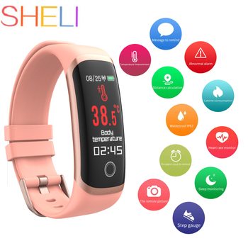 Bluetooth Temperature Smart Watch Waterproof Sports Smart Wristband Heart Rate Temperature Monitor Smartwatch For IOS Android c5 smart watch mtk2502 heart rate monitor sports clock smartwatch waterproof relogio support sim card for ios android pk amazfit