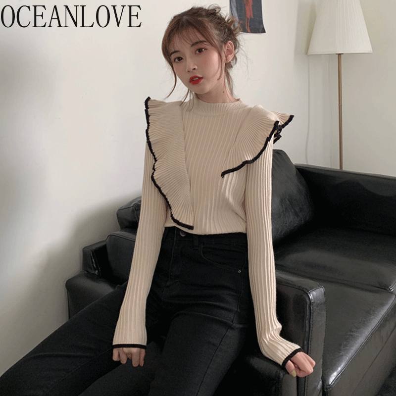 OCEANLOVE Ruffles Korean Women Sweaters 2020 Spring Autumn Pullovers Fashion Elegant Ins Tops Office Lady Pull Femme 13906