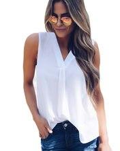 Blouse sans manches en mousseline de soie pour femmes, chemise décontractée à col v, top, mode, été, 2020