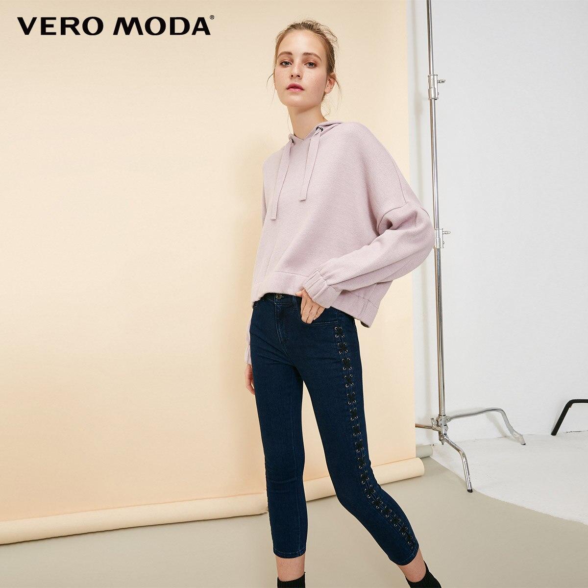 Vero Moda 2019 New Arrivals Women's Mid Waist Lace-up Capri Jeans | 31836I505
