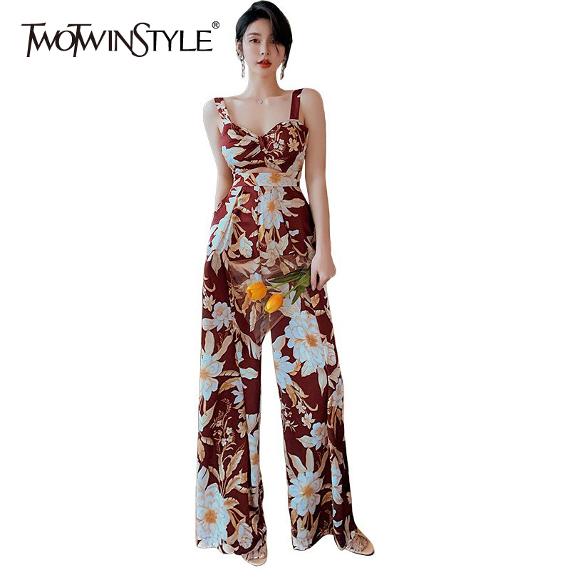 TWOTWINSTYLE Vintage Print Women Jumpsuit Square Collar Spaghetti Strap High Waist Hollow Out Loose Jumpsuits For Female Fashion