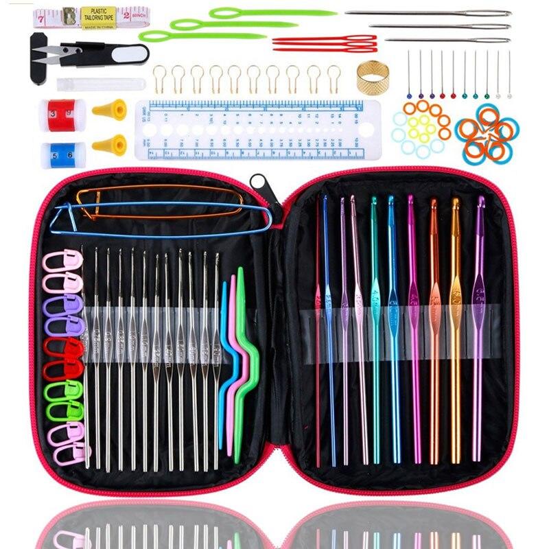 Looen набор крючков для вязания крючком 100 шт с пряжей спицы швейные инструменты полный набор вязальных ножниц держатели петель инструменты для рукоделия