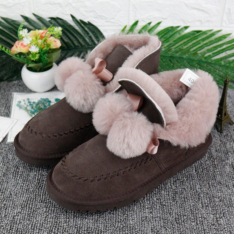 Botas de nieve de cuero genuino de alta calidad a la moda para mujer suelas de goma antideslizantes botas de tobillo piel Natural lana gruesa caliente botas de invierno-in Botas de nieve from zapatos    2