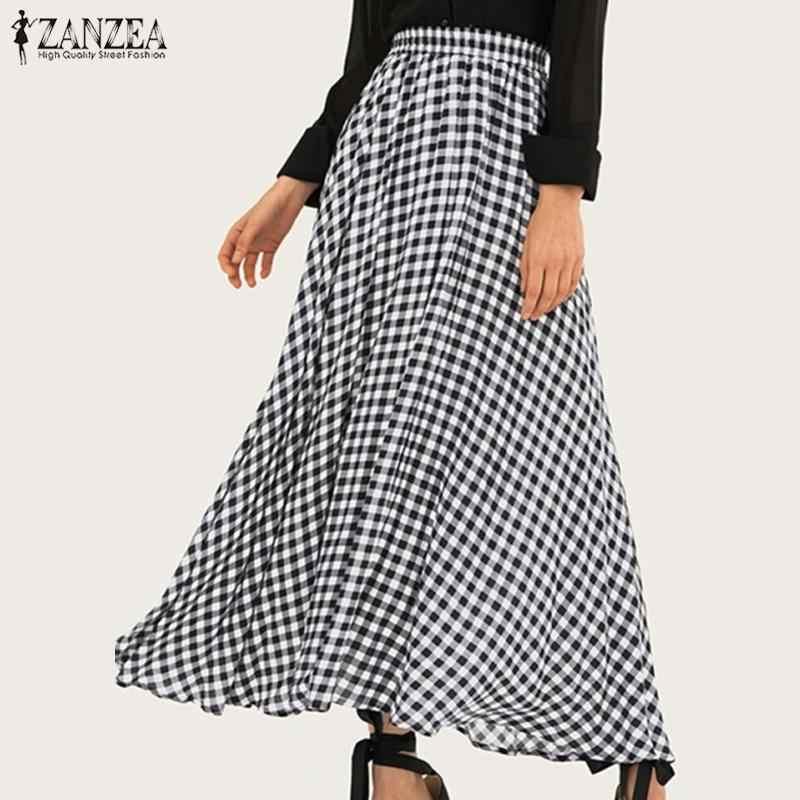 فستان نسائي شيك Sundress ZANZEA موضة ربيع 2020 تنانير عالية الخصر طويل فيستدوس نسائي منفوش رداء غير رسمي تنورة مقاس كبير