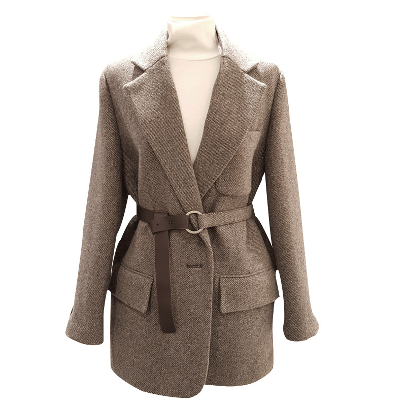 Women Blazers And Jackets Autumn And Winter New Fashion Long-sleeved Woolen Suit Tie Waist OL Professional Jacket Female Jacket