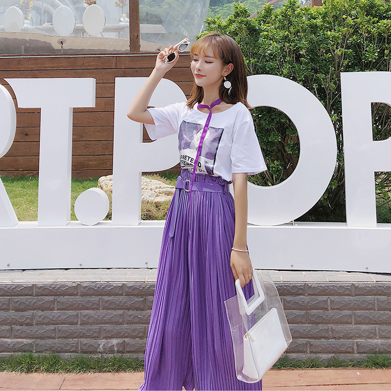 [Dowisi] 2018 New Style Summer Wear Korean-Style Short Sleeve T-shirt High-waisted Pleated Loose Pants Two-Piece Set F5034