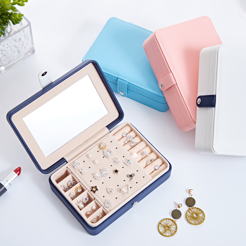 Jewelry Box Portable Multi Function PU Leather Fresh and Simple Earrings Ring Jewellry Storage Necklace Case Gift 1