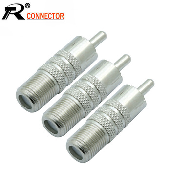 100pcs/lot RCA Male Plug to F Female Jack Socket F/M Coupler F to RCA RF Coaxial Adapter Connector BNC Converter