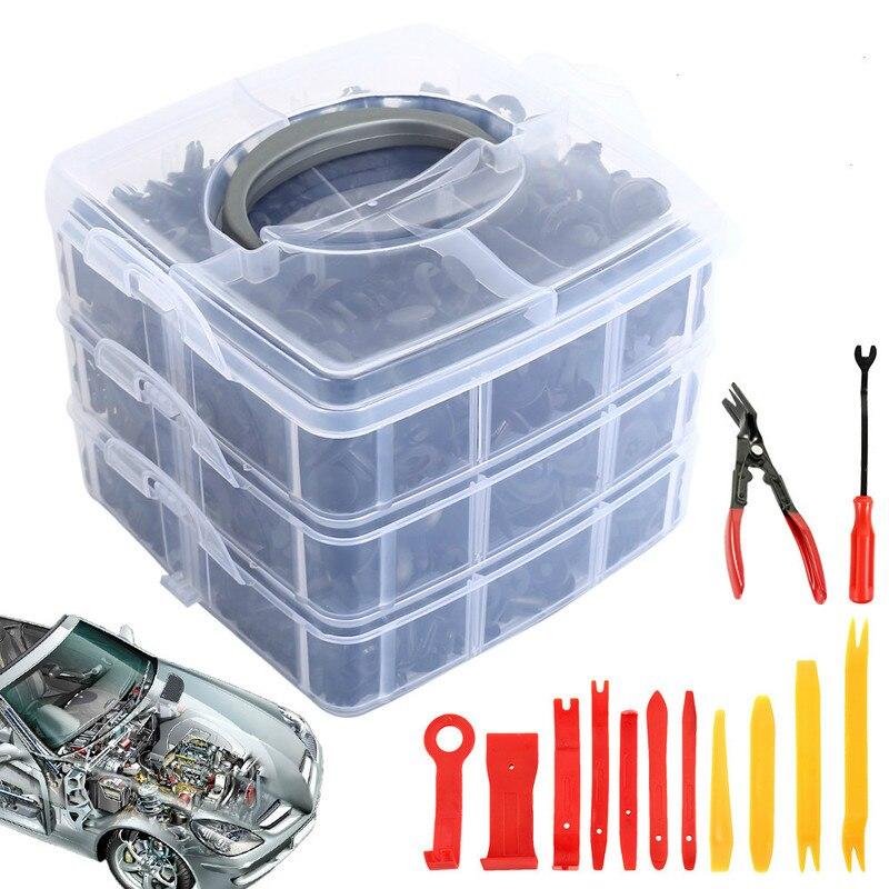 620 pces clipe de prendedor de carro com 1/2/5/8 pces ferramentas porta guarnição painel pára-choques automático rebite retentor push capa do motor fender clipes