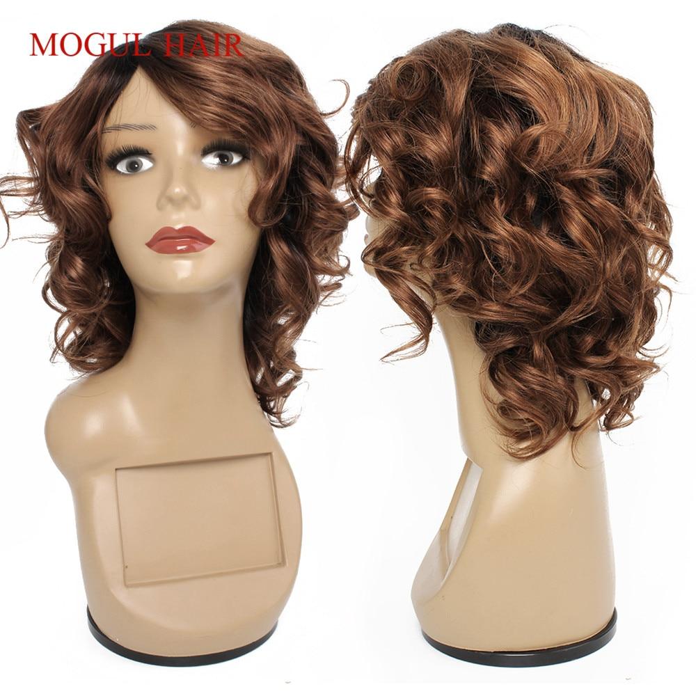 Mogul Hair Cheap Human Hair Wigs Machine Made Wig Ombre Honey Blonde Burgundy Romance Curl Short Hair Wig Indian Non-Remy Hair