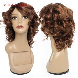 Mogul Hair Human Hair Wigs Cheap Machine Made Wig Ombre Brown Auburn Blonde Burgundy Black Romance Curl Short Wavy Remy Hair