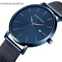 일본 석영 운동 간단한 디자인 원래 클래식 남자 시계 달력 레저 패션 방수 진한 파란색 손목 시계
