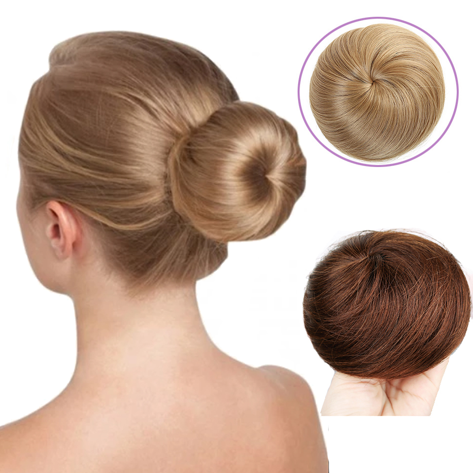 Short Straight Heat Resistant Synthetic Band Clip In Hair Extension Chignon Donut Roller Bun Wig For Women Fashion