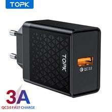 TOPK B154Q 18W 빠른 충전 3.0 빠른 휴대 전화 충전기 아이폰에 대 한 EU 플러그 벽 USB 충전기 어댑터 삼성 Xiaomi