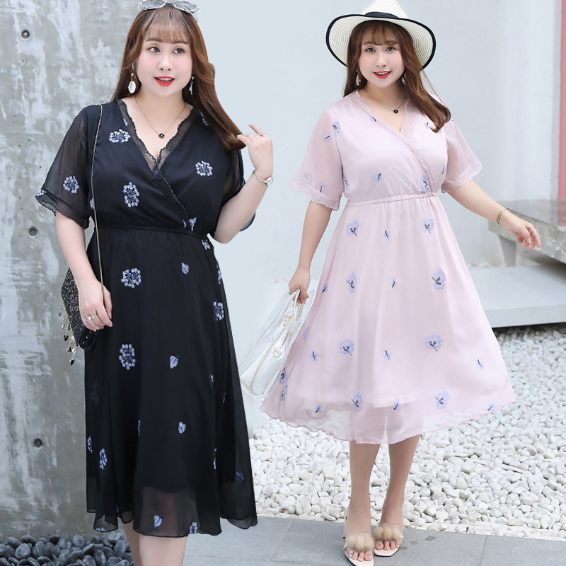 2019 Summer New Products Large Size Dress Elegant Slim Dress Western Style Embroidered Skirt Fat Mm Dress 1350 H