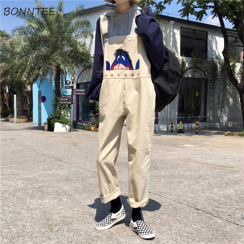 Jumpsuits Women 2020 Harajuku All-match Loose Denim Solid Womens Ankle-length Pants Pockets Leisure Ladies Bodysuits Kawaii