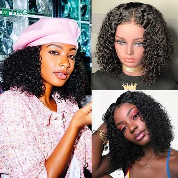 13 #215 4 krótki bob kręcone ludzkie włosy peruka Glueless koronki przodu peruki z ludzkich włosów Virgo peruwiański koronkowa peruka na przód dla czarnych kobiet 8-14 Remy tanie i dobre opinie VOLYS VIRGO Lace Front wigs Remy włosy Ludzki włos Pół maszyny wykonane i pół ręcznie wiązanej Ciemniejszy kolor tylko