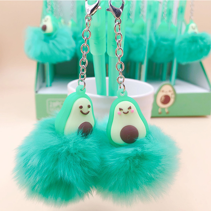 Creative Avocado Pendant Gel Pen Cute Stationery Hairball Water Gel Ink Pen Black Ink Signature Pen School Writing Supplies